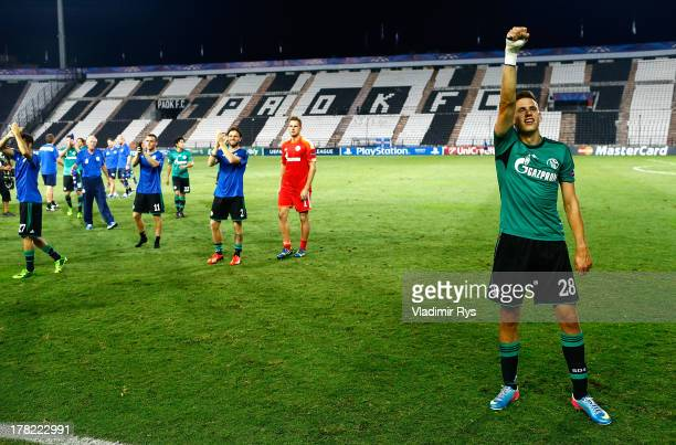 Adam Szalai of Schalke celebrates after the final whistle of the UEFA Champions League second leg play-off match between PAOK Saloniki and FC Schalke...