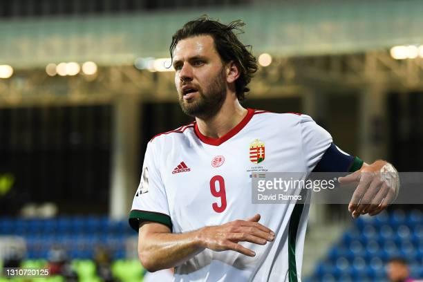 Adam Szalaiof Hungary runs with the ball during the FIFA World Cup 2022 Qatar qualifying match between Andorra and Hungary at Estadi Nacional on...