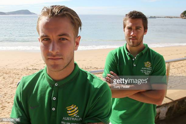Adam Taggart and Josh Brillante after a cool down session at Terrigal Beach during an Australian Socceroos training session at Terrigal Beach on May...