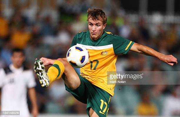 Adam Taggart of Australia controls the ball during the 2012 Olympic Games Asian Qualifier Third Round match between Australia and Uzbekistan at...