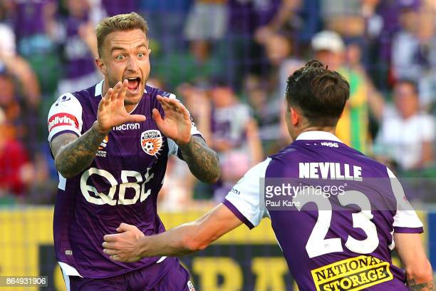 Adam Taggart of the Glory celebrates a goal with Scott Neville during the round three ALeague match between Perth Glory and the Central Coast...