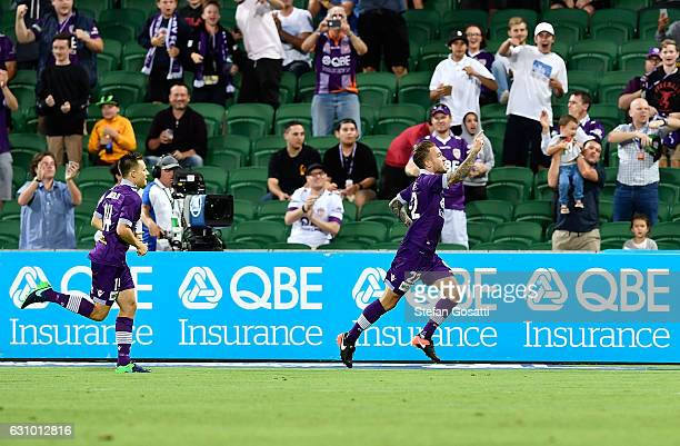 Adam Taggart of the Glory celebrates after scoring a goal during the round 14 ALeague match between the Perth Glory and the Wellington Phoenix at nib...