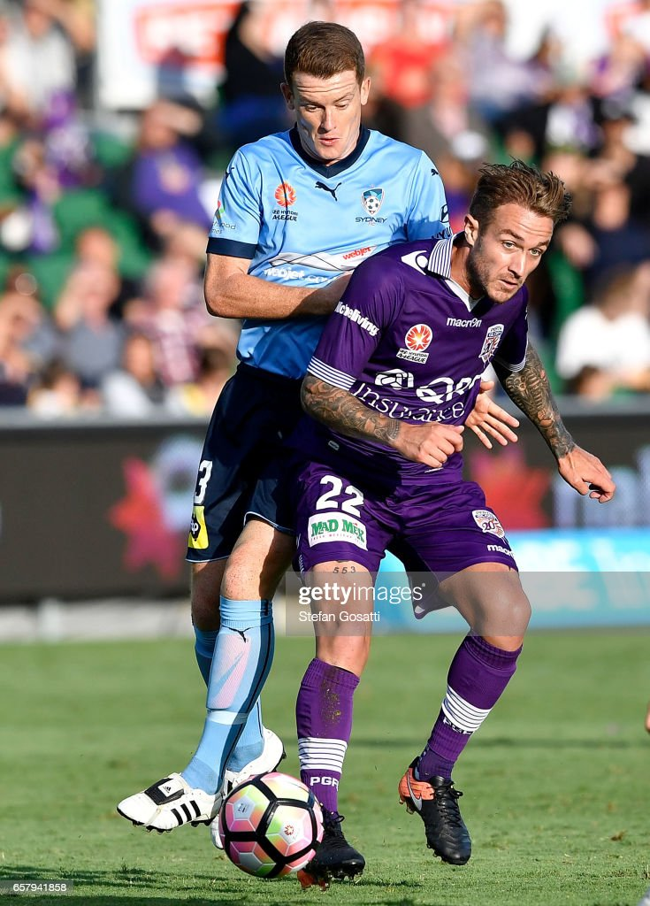 Adam Taggart of the Glory controls the ball during the round 24 A-League match between Perth Glory and Sydney FC at nib Stadium on March 26, 2017 in Perth, Australia.