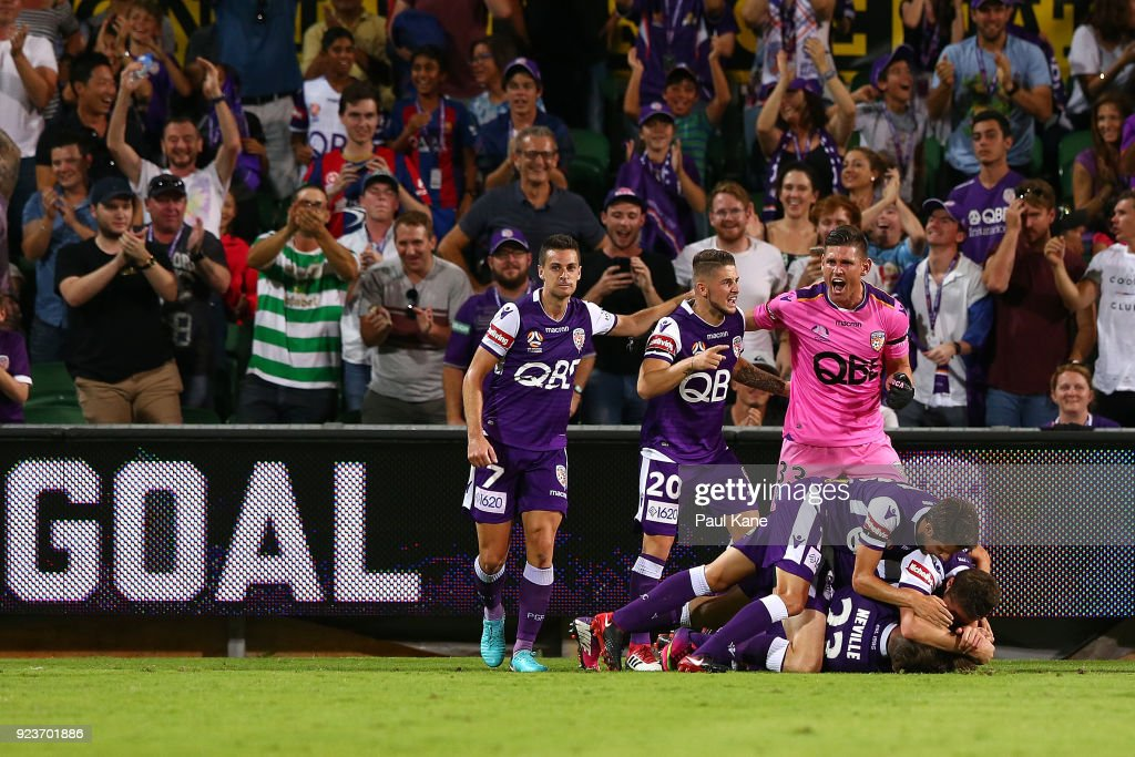Adam Taggart of the Glory is congratulated by team mates after scoring the winning goal during the round 21 A-League match between the Perth Glory and Melbourne City FC at nib Stadium on February 24, 2018 in Perth, Australia.