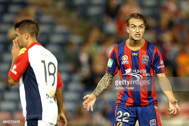 Adam Taggart of the Jets yells at teammates during the round 27 ALeague match between the Newcastle Jets and Adelaide United at Hunter Stadium on...