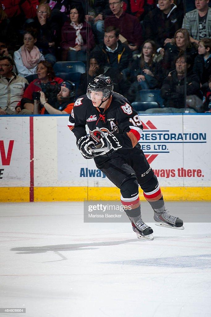 Adam Tambellini #19 of Calgary Hitmen skates against the Kelowna Rockets on February 28, 2015 at Prospera Place in Kelowna, British Columbia, Canada.