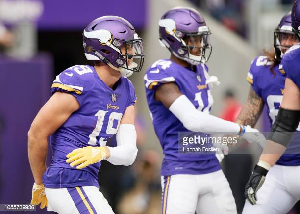 Adam Thielen and Stefon Diggs of the Minnesota Vikings celebrate a touchdown Thielen during the game against the Arizona Cardinals at US Bank Stadium...