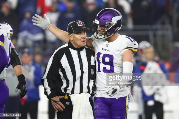 Adam Thielen of the Minnesota Vikings argues a call during the second half against the New England Patriots at Gillette Stadium on December 2 2018 in...