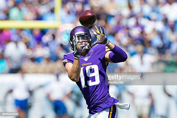 Adam Thielen of the Minnesota Vikings catches a pass during a game against the Tennessee Titans at Nissan Stadium on September 11 2016 in Nashville...