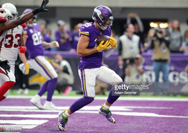 Adam Thielen of the Minnesota Vikings catches the ball in the endzone for a touchdown in the third quarter of the game against the Arizona Cardinals...