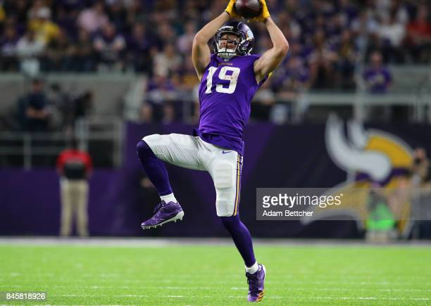 Adam Thielen of the Minnesota Vikings catches the ball in the second half of the game against the New Orleans Saints on September 11 2017 at US Bank...