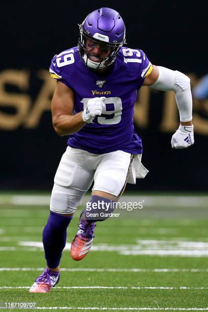 Adam Thielen of the Minnesota Vikings in action during the first half of a preseason game against the New Orleans Saints at Mercedes Benz Superdome...