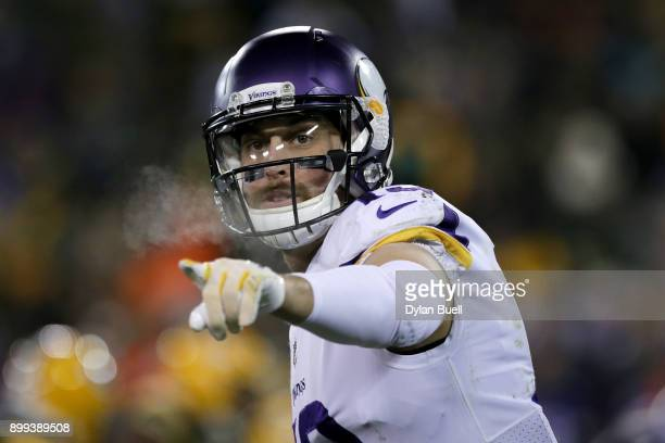 Adam Thielen of the Minnesota Vikings lines up for a play in the fourth quarter against the Green Bay Packers at Lambeau Field on December 23 2017 in...