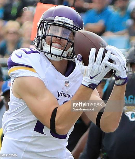 Adam Thielen of the Minnesota Vikings makes a catch during the game against the Jacksonville Jaguars at EverBank Field on December 11, 2016 in...