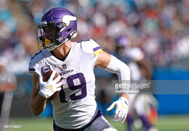 Adam Thielen of the Minnesota Vikings makes a catch during the third quarter against the Carolina Panthers at Bank of America Stadium on October 17,...