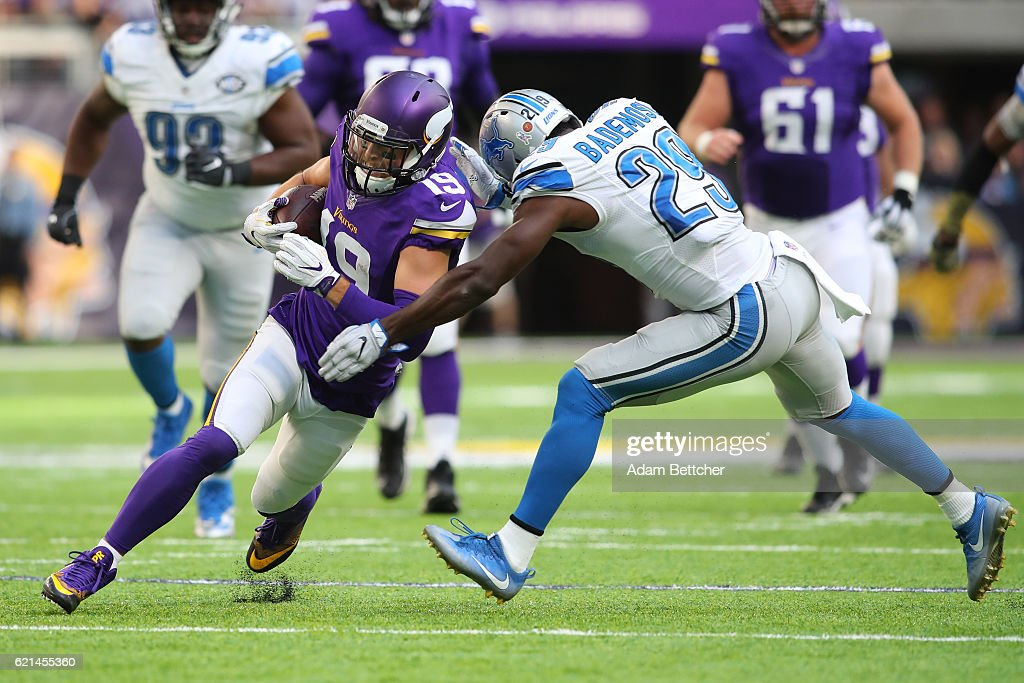 Adam Thielen #19 of the Minnesota Vikings runs into Johnson Bademosi #29 of the Detroit Lions during the second half of the game on November 6, 2016 at US Bank Stadium in Minneapolis, Minnesota.