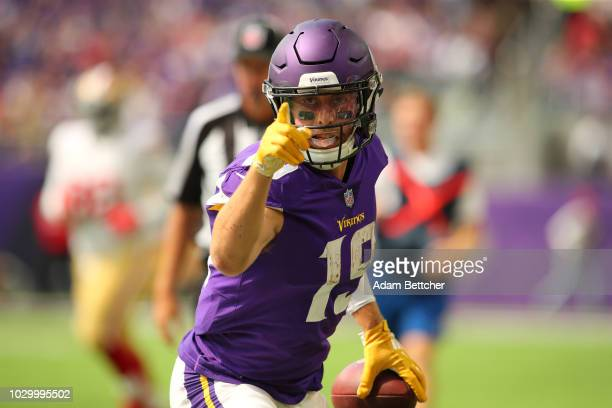 Adam Thielen of the Minnesota Vikings signals a first down after a catch and run in the second half of the game against the San Francisco 49ers at...
