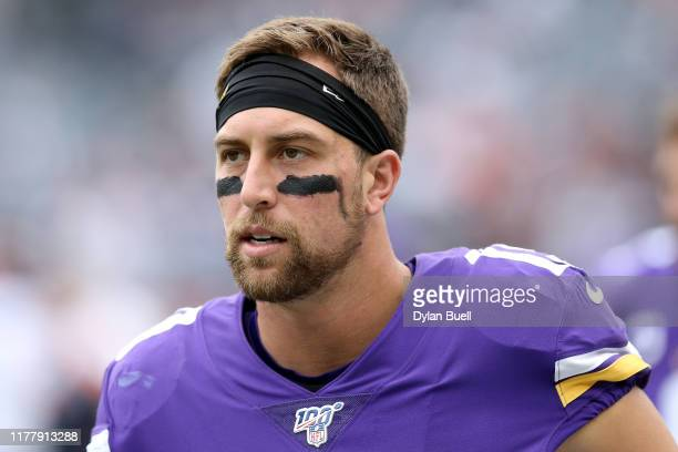 Adam Thielen of the Minnesota Vikings warms up before the game against the Chicago Bears at Soldier Field on September 29, 2019 in Chicago, Illinois.