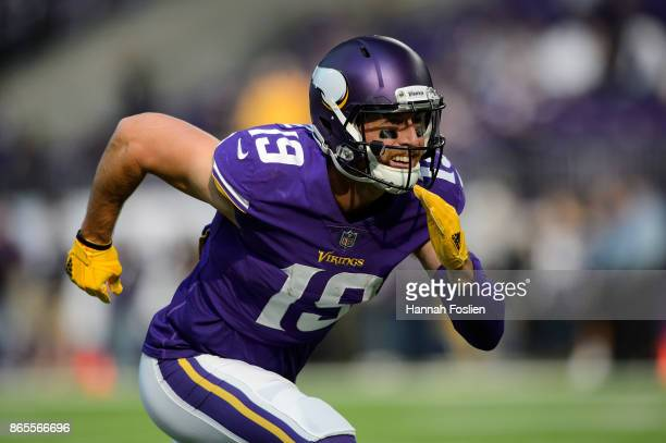 Adam Thielen of the Minnesota Vikings warms up before the game against the Baltimore Ravens on October 22 2017 at US Bank Stadium in Minneapolis...