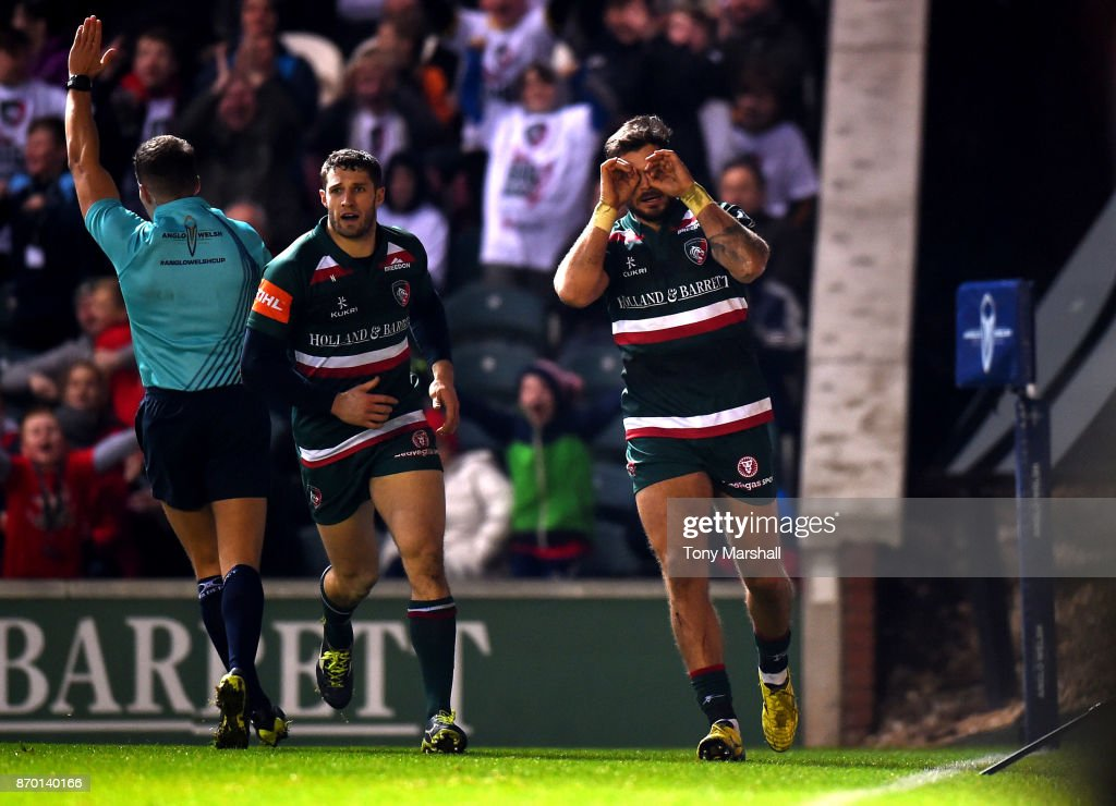 Adam Thompstone of Leicester Tigers celebrates scoring a try during the Anglo-Welsh Cup match at Welford Road on November 4, 2017 in Leicester, England.