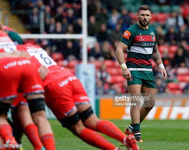 Adam Thompstone of Leicester Tigers during the Gallagher Premiership Rugby match between Leicester Tigers and Sale Sharks at Welford Road Stadium on...