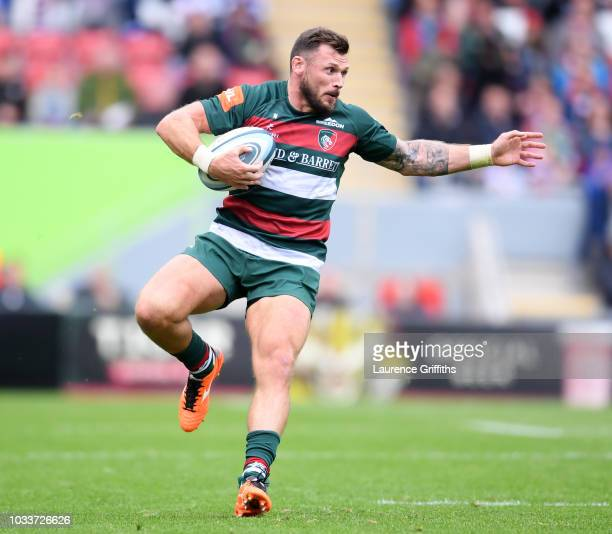 Adam Thompstone of Leicester Tigers in action during the Gallagher Premiership Rugby match between Leicester Tigers and Newcastle Falcons at Welford...