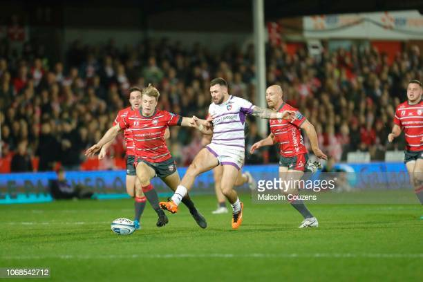 Adam Thompstone of Leicester Tigers kicks the ball during the Gallagher Premiership Rugby match between Gloucester Rugby and Leicester Tigers at...