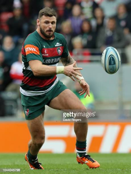 Adam Thompstone of Leicester Tigers passes the ball during the Gallagher Premiership Rugby match between Leicester Tigers and Sale Sharks at Welford...