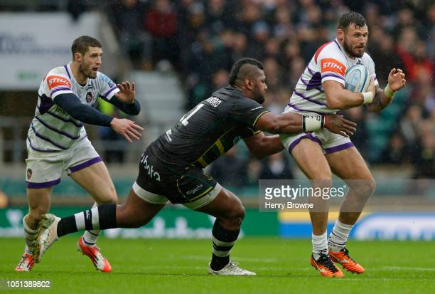 Adam Thompstone of Leicester Tigers tackled by Taqele Naiyaravoro of Northampton Saints during the Gallagher Premiership Rugby match between...