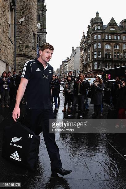 Adam Thomson of the All Blacks departs the Radisson Blu hotel on November 12 2012 in Edinburgh Scotland