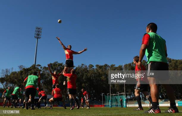 Adam Thomson of the All Blacks jumps in the lineout during the New Zealand All Blacks Training Session at Xerox Arena on August 16, 2011 in Port...