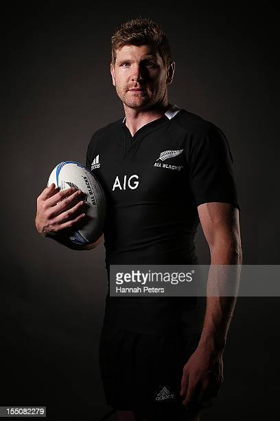Adam Thomson poses during a New Zealand All Blacks portrait session at the Heritage Hotel on November 1 2012 in Auckland New Zealand
