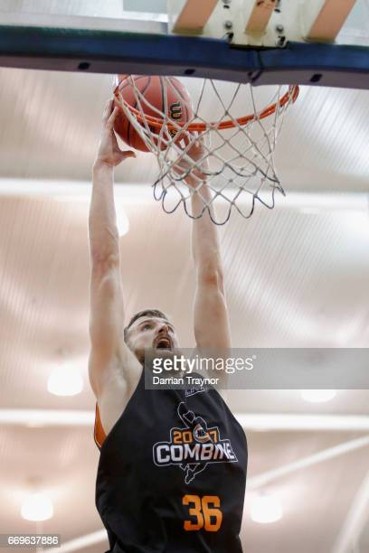 Adam Thoseby dunks during the NBL Combine 2017/18 at Melbourne Sports and Aquatic Centre on April 18 2017 in Melbourne Australia