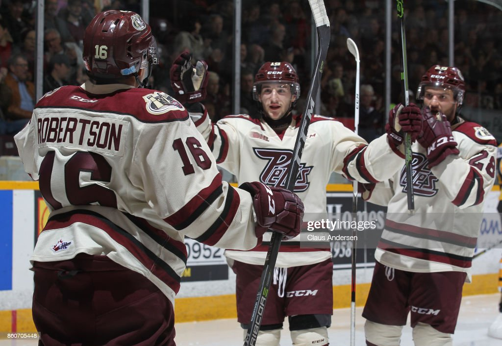 Adam Timleck #18 of the Peterborough Petes celebrates a goal against the Kingston Frontenacs in an OHL game at the Peterborough Memorial Centre on October 12, 2017 in Peterborough, Ontario.