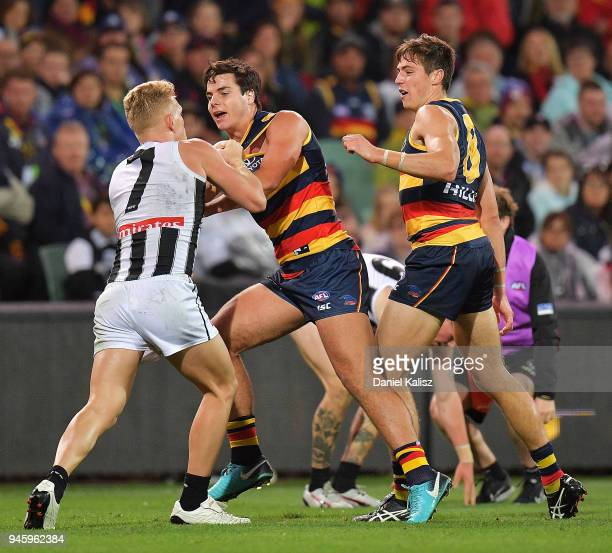 Adam Treloar of the Magpies wrestles with Darcy Fogarty of the Crows during the round four AFL match between the Adelaide Crows and the Collingwood...