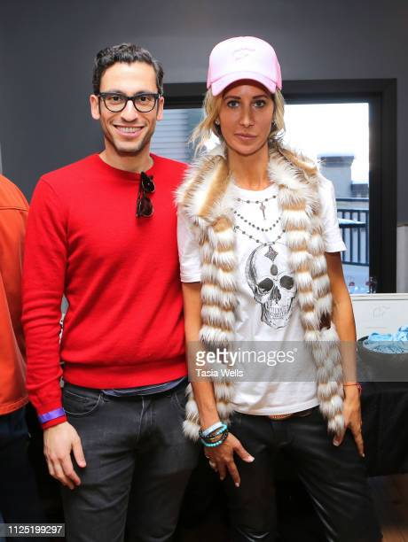 Adam Tsekhman and Lady Victoria Harvey attend Debbie Durkin's Ecoluxe Lounge Park City at Tekila Mexican Grill Cantina on January 26 2019 in Park...