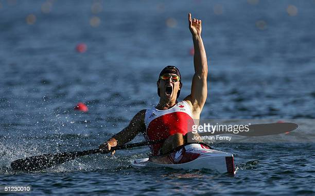 Adam van Koeverden of Canada celebrates his win during the men's K1 class 500 metre final on August 28 2004 during the Athens 2004 Summer Olympic...