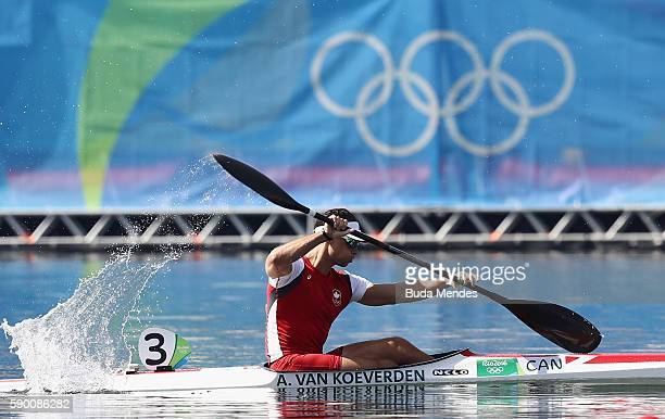 Adam van Koeverden of Canada competes during the Men's Kayak Single 1000m Final B on Day 11 of the Rio 2016 Olympic Games at the Lagoa Stadium on...
