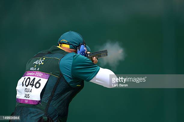 Adam Vella of Australia competes during the Men's Trap Shooting qualifying on Day 10 of the London 2012 Olympic Game at the Royal Artillery Barracks...