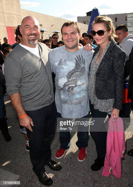 Adam Venit Jack Black and Trina Venit attend Yahoo Sports presents 'A Day of Champions' at Sports Museum of Los Angeles on November 6 2011 in Los...