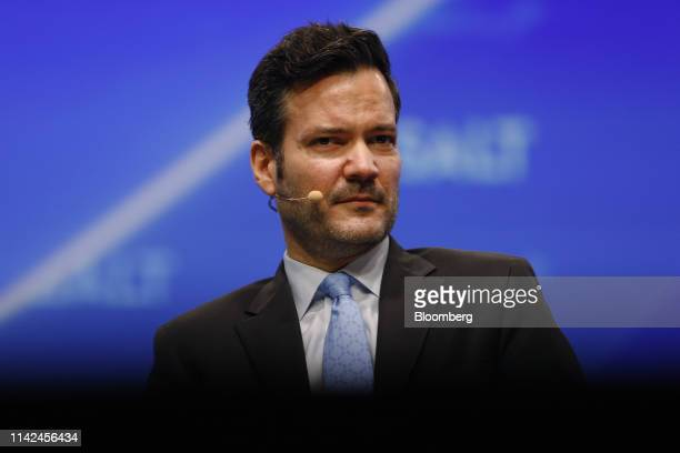 Adam Vigna, chief investment officer and managing partner of Sagard Capital Partners LP, listens during the Skybridge Alternatives conference in Las...
