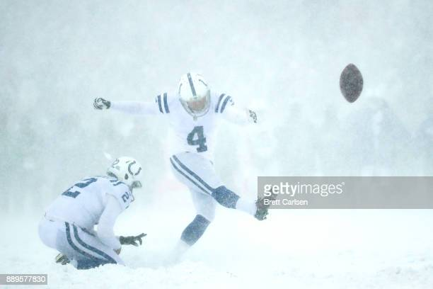 /Adam Vinatieri of the Indianapolis Colts attempts a field goal during the first quarter against the Buffalo Bills on December 10 2017 at New Era...