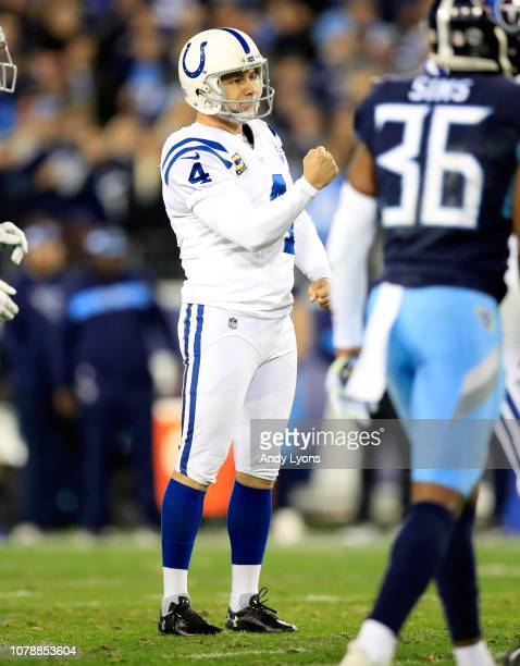 Adam Vinatieri of the Indianapolis Colts celebrates after kicking a field goal against the Tennessee Titans at Nissan Stadium on December 30 2018 in...