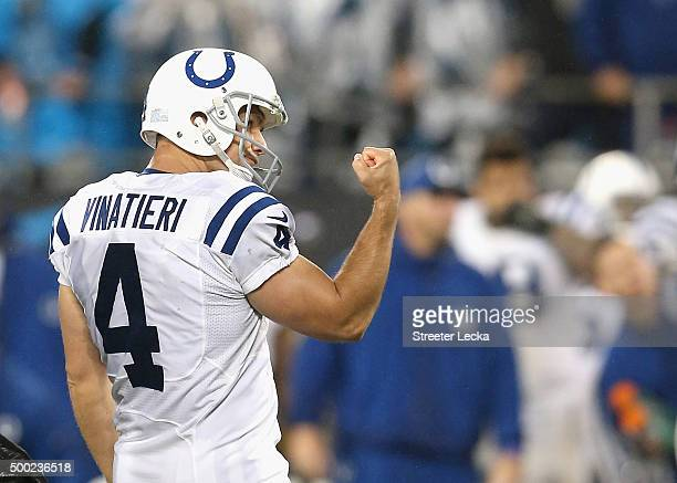 Adam Vinatieri of the Indianapolis Colts during their game at Bank of America Stadium on November 2 2015 in Charlotte North Carolina