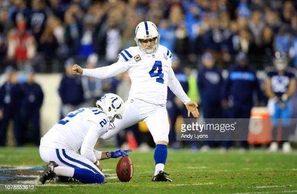 Adam Vinatieri of the Indianapolis Colts kicks a field goal against the Tennessee Titans at Nissan Stadium on December 30 2018 in Nashville Tennessee