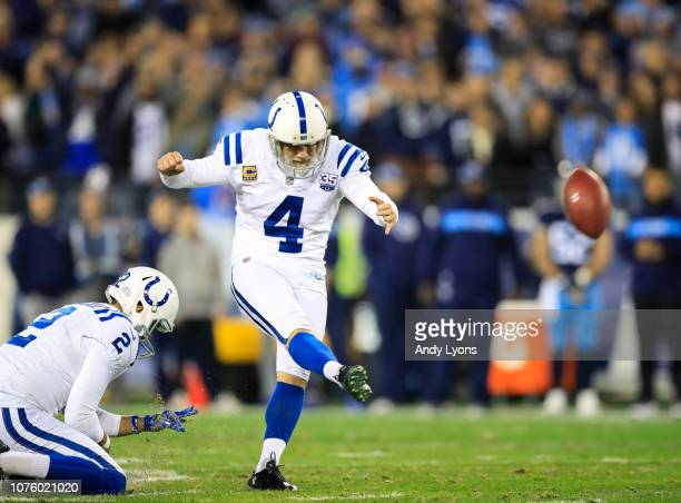 Adam Vinatieri of the Indianapolis Colts kicks a field goal during the second quarter against the Tennessee Titans at Nissan Stadium on December 30...