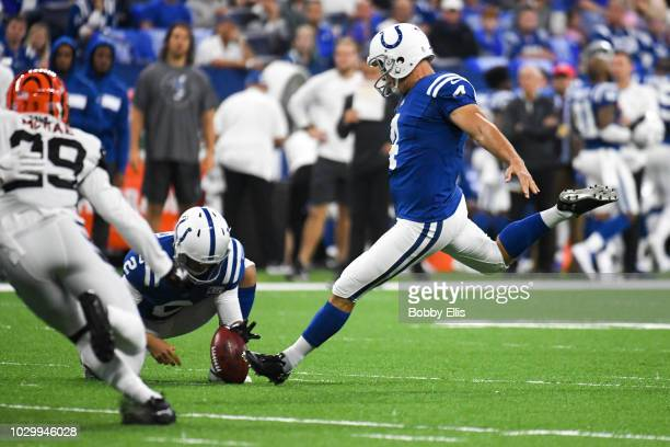 Adam Vinatieri of the Indianapolis Colts kicks a field goal in the game against the Cincinnati Bengals at Lucas Oil Stadium on September 9 2018 in...