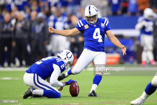 Adam Vinatieri of the Indianapolis Colts kicks an extra point in the second quarter against the Buffalo Bills at Lucas Oil Stadium on October 21 2018...