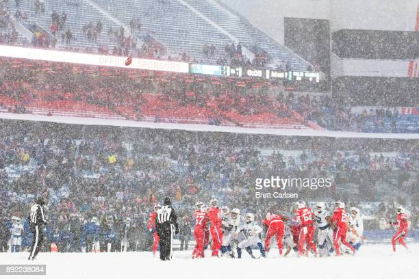 Adam Vinatieri of the Indianapolis Colts misses what would be a game winning field goal during the fourth quarter against the Buffalo Bills at New...