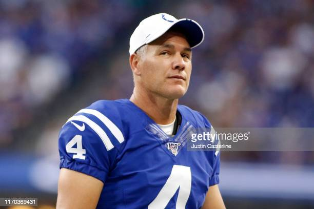 Adam Vinatieri of the Indianapolis Colts on the sidelines during the preseason game against the Chicago Bears at Lucas Oil Stadium on August 24 2019...